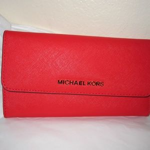 Michael Kors Sangria Leather Tri Fold Wallet NWT